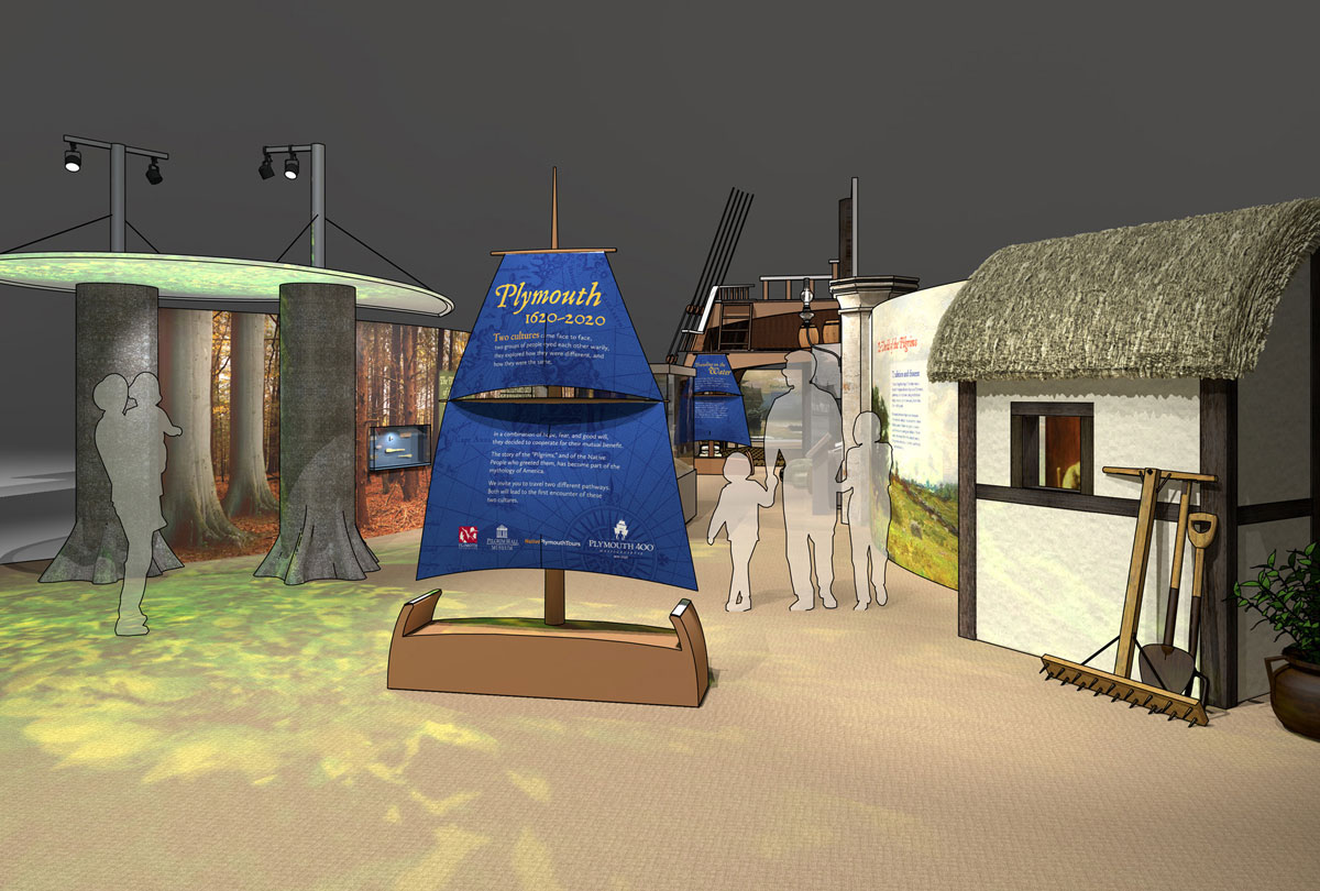 Plymouth 1620-2020 a multi-modal visitor experience. Hands-on and digital interactives, film, and immersive environments are used to illuminate the origins of both Wampanoag and English culture