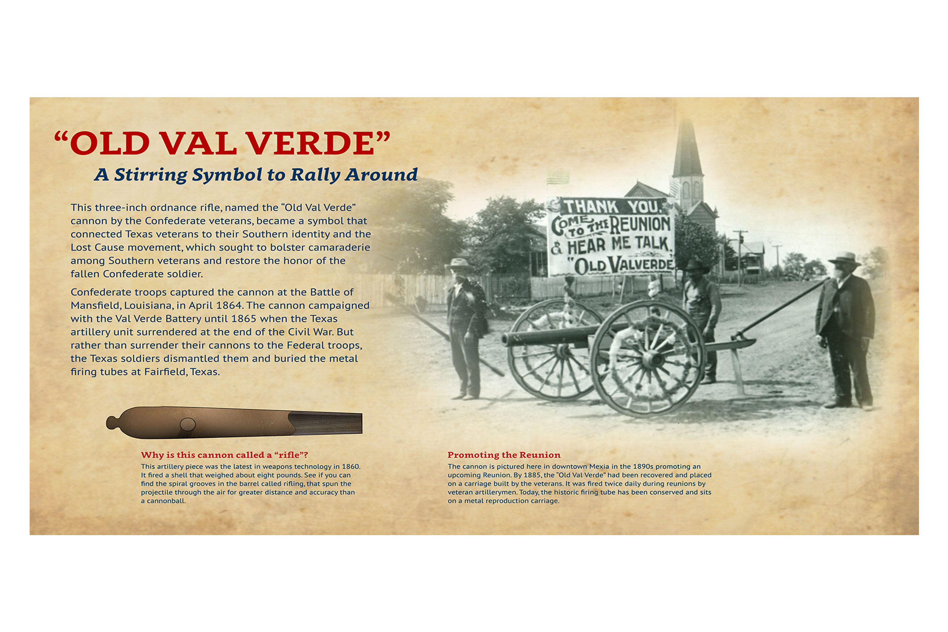 Old Val Verde, a Civil War-era cannon that Reunion Grounds campers fired to start and end each day.