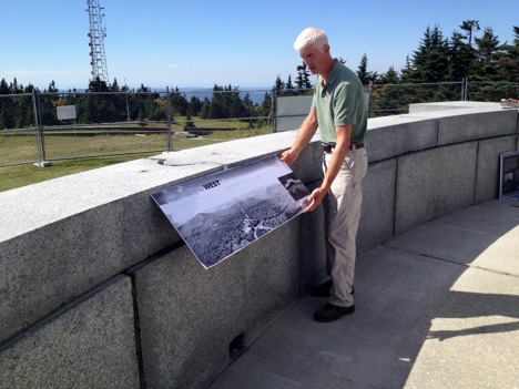 There are a large number of existing interpretive panels on site, our program needed to be discreet, here a mock-up is located just below the parapet of the tower walkway