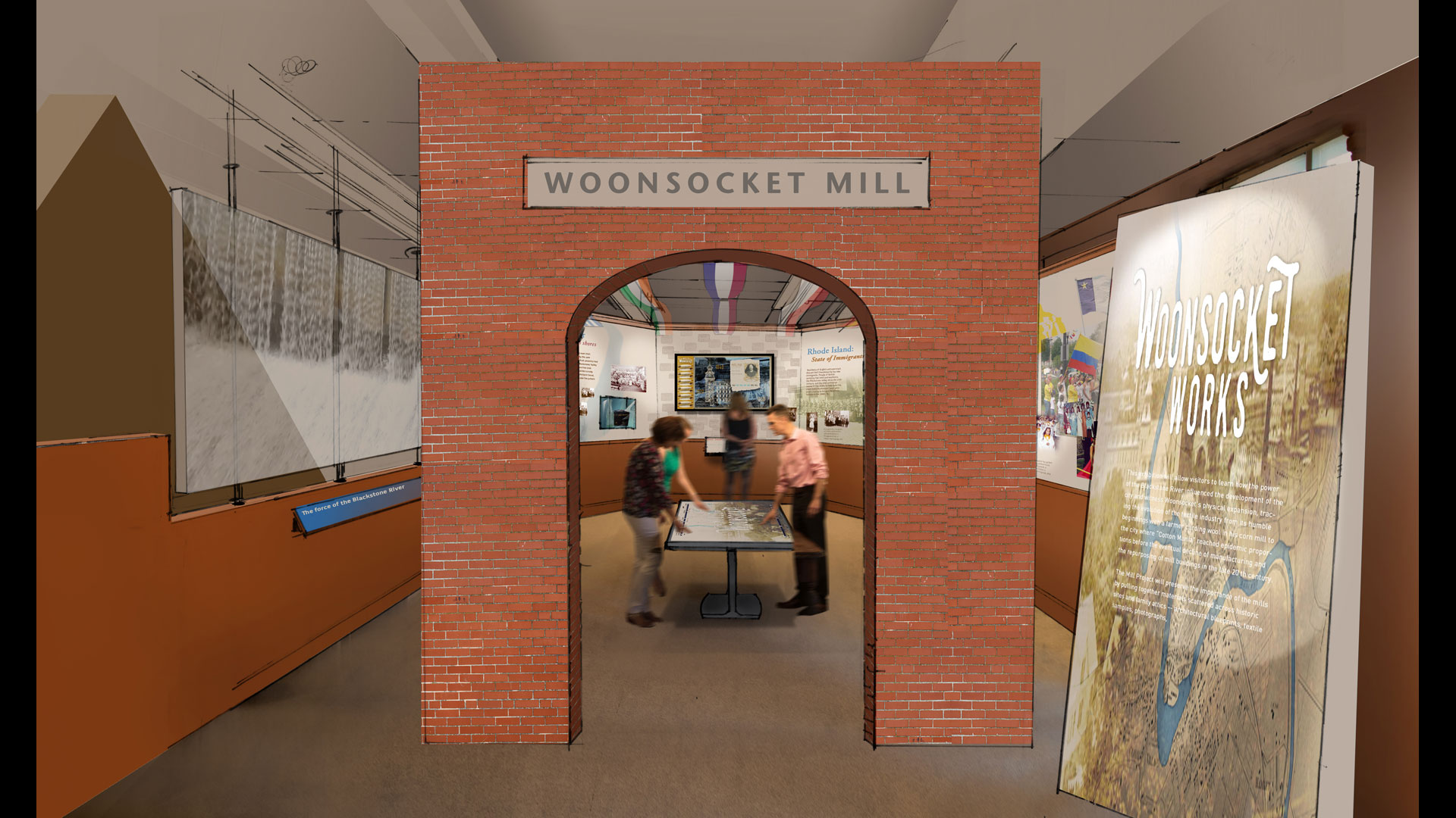 This multi-touch gestural interface exhibit uses the Blackstone River as a metaphor for change; visitors learn about how the mills changed the historical landscape of Woonsocket, RI. The interface allows multiple users to access a series of maps tapping into deeper content depending on the visitor's interest.
