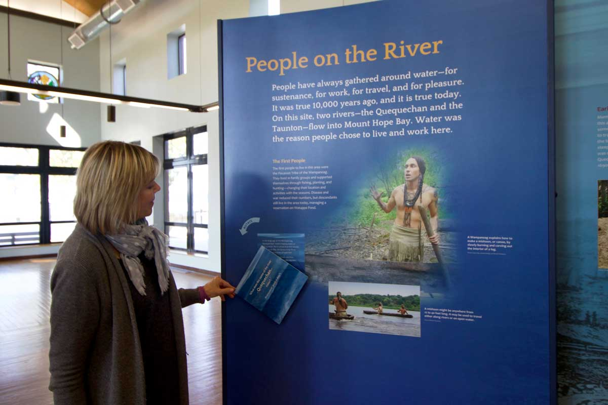 Interactive exhibits educate visitors about the history of Fall River which was one of the most prosperous mill towns of New England for the Department of Conservation and Recreation at Fall River Heritage State Park