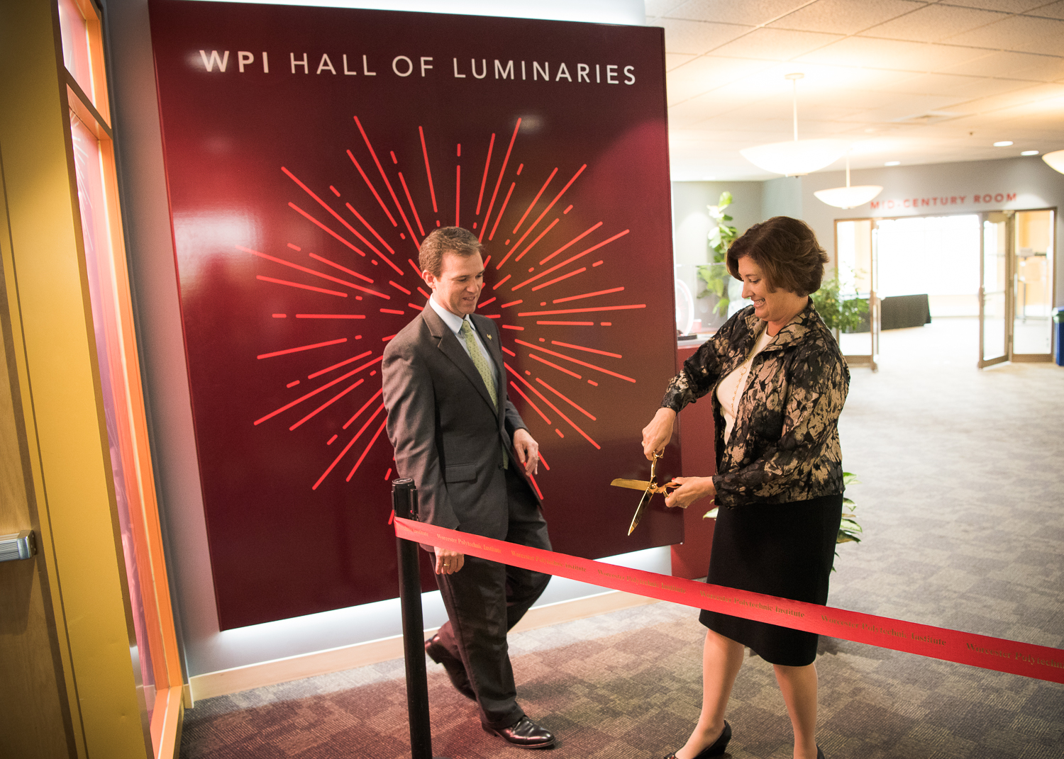 Worcester Polytechnic Institute photographs of the WPI Hall of Luminaries exhibit and opening event