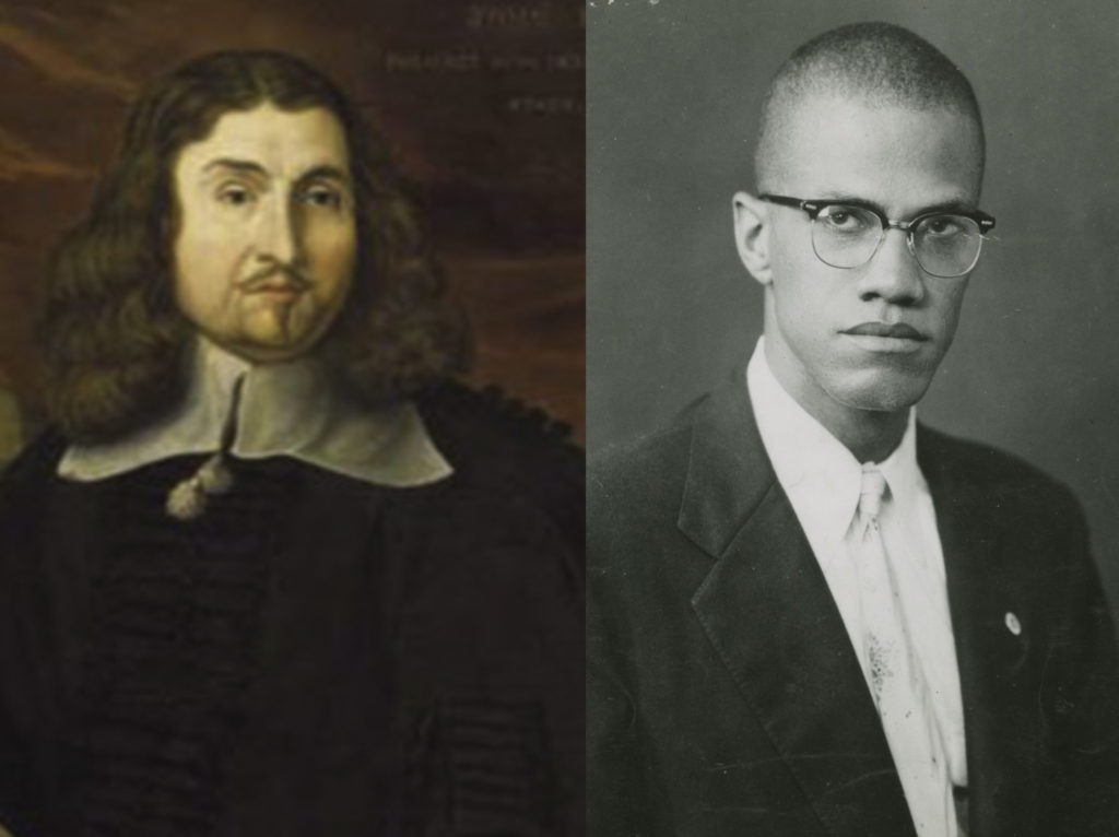 John Eliot, Jesus College Cambridge, artist unknown;  Malcolm X, c1950, Shomburg Center for Research in Black Culture, NYPL, photographer unknown