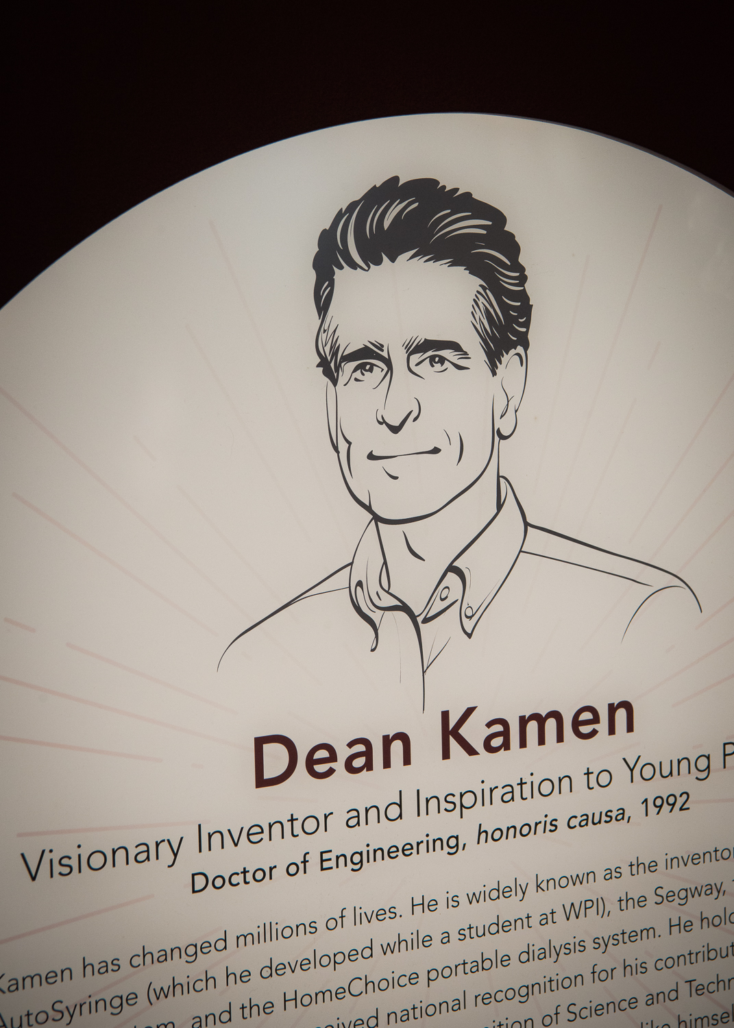 Detail of the permanent plaque dedicated to Dean Kamen.