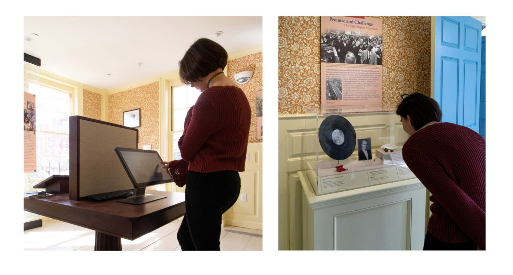 Audio program and artifact case in the 20th Century gallery at the Dillaway-Thomas House